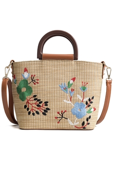 Embroidered Straw Crossbody Handbags HB1301