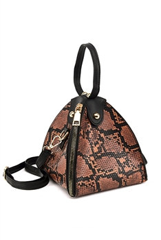 Snakeskin Printed Triangle Bag HB1313 - Brown