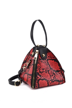 Snakeskin Printed Triangle Bag HB1313 - Red