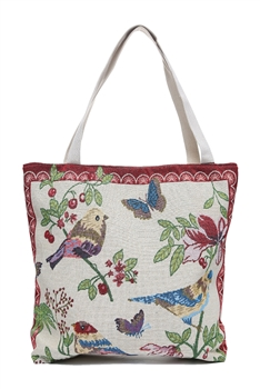 Floral Birds Butterfly Leaf Canvas Bag HG108
