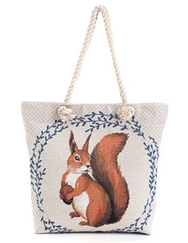 Squirrel Print Canvas Bag HG112