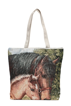 Horse  Print Canvas Bag HG113