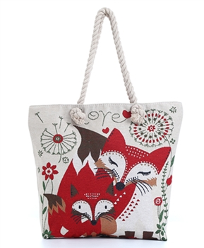 Fox  Print Canvas Bag HG115
