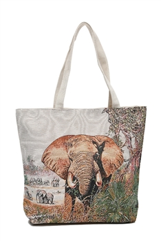 Elephant  Print Canvas Bag HG116