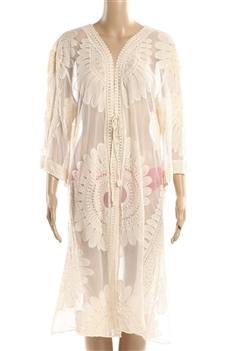 Lace Kimono Flower Cover up HY6614 - Ivory