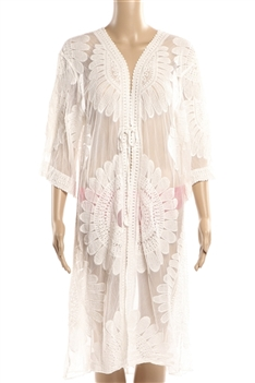 Lace Kimono Flower Cover up HY6614 - White