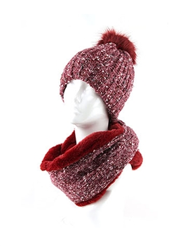 Wool Hat & Scarf Set HY6916 - Red