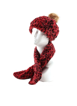 Leopard Hats Set HY6935 - Red