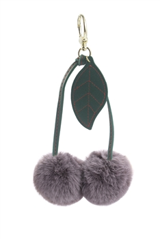 Two Plush Ball Key Chain K1092 - Khaki