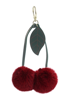 Two Plush Ball Key Chain K1092 - Red