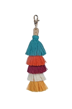 Fashion Multi Color Tassel Key Chains K1108 - Green
