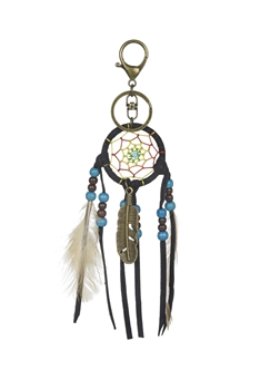 Dream Catcher Feather Key Chain K1115 - Black
