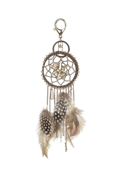 Dream Catcher Feather Key Chain K1116 - Champagne