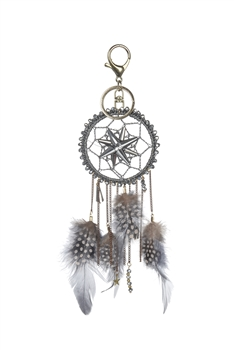 Dream Catcher Feather Key Chain K1116 - Grey