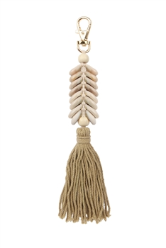 Shell Tassel Braided Key Chains K1125 - Camel