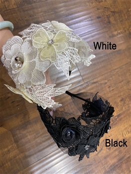 Lace Flower Beaded Headband L2294