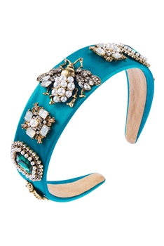 Baroque Style Rhinestones Hair Band L2347 - Turquoise