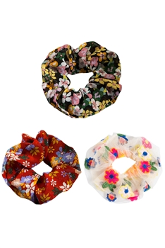 Floral Printed Hair Scrunchies Set L2352