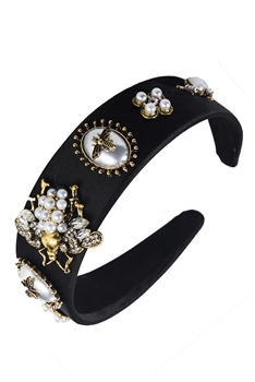 Baroque Pearl Bee Headband L2400 - Black