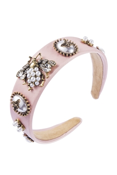 Baroque Pearl Bee Headband L2400 - Pink