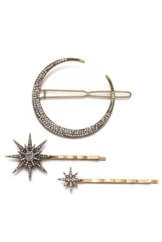 Rhinestone Moon & Star Hairpin Set L2574
