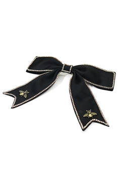 Alloy Bee Fabric Bow Hairpin L2638 - Black