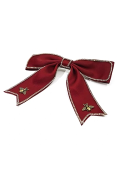 Alloy Bee Fabric Bow Hairpin L2638 - Red