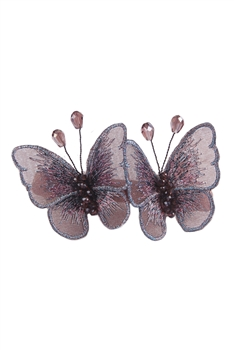 Butterflys Lace Hair Clip L2689 - Purple