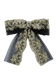 Lace Embroidery Bow Hair Clips L2709 - Black