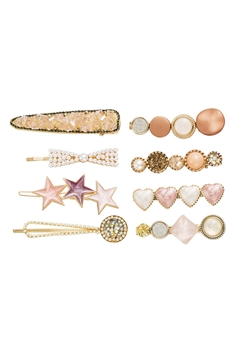 Rhinestone Hair Clips Set L2711