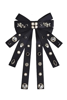 Bow Fabric Rhinestone Hair Clip L2743 - Black