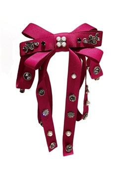 Bow Fabric Rhinestone Hair Clip L2743 - Red