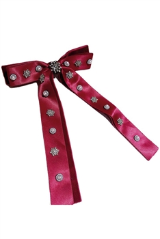 Bow Fabric Rhinestone Hair Clip L2744 - Red