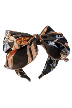 Printed Bow Fabric Headband L2757 - Black