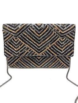 Stripe Beaded Clutch Bag LAC-SS-049