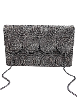 Party Partner Beaded Clutch LAC-SS-109 - Hematite