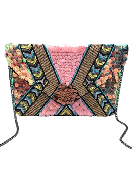 Multi Sequins Beaded Clutch Bag LAC-SS-132