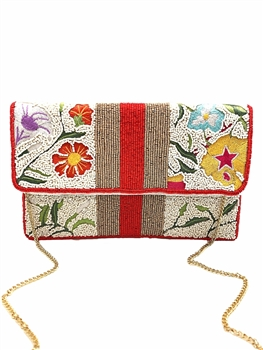Floral  Beaded Clutch Bag LAC-SS-144