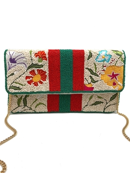 Floral And Stripes Beaded Clutch Bag LAC-SS-145