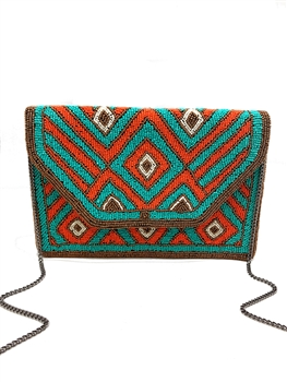 Coral And Turquoise Beaded Clutch Bag LAC-SS-156