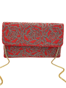 Red Rose Beaded Clutch Bag LAC-SS-188