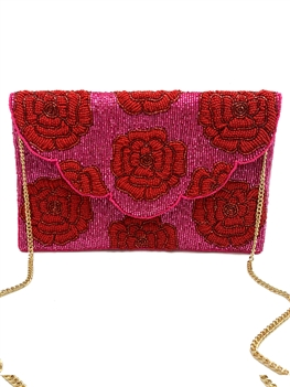 Red Rose Beaded Clutch Bag LAC-SS-191