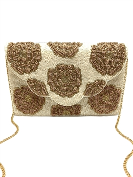 Red Rose Beaded Clutch Bag LAC-SS-191 - Gold