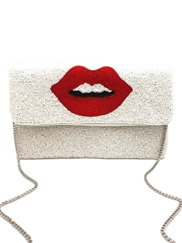 Red Lips Beaded Clutch Bag LAC-SS-196 - White