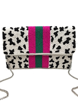 Cow Print Pattern Beaded Clutch Bag LAC-SS-199