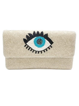 Against Evil Eye Beaded Clutch Bag LAC-SS-200