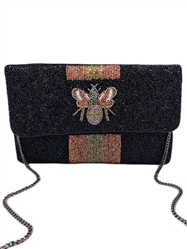 BEE-You Striped Beaded Clutch LAC-SS-214