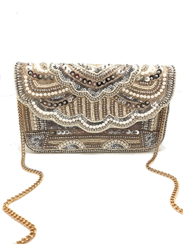Vintage & Pearl Beaded Clutch LAC-SS-302