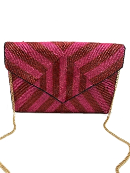 Fuchsia And Red Beaded Clutch Bag LAC-SS-408