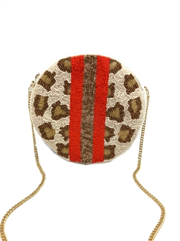 Round Stripes Leopard Beaded Bag LAC-SS-416